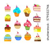 set of cakes and pastries.... | Shutterstock .eps vector #579332746