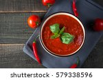 chili tomato soup with sour... | Shutterstock . vector #579338596
