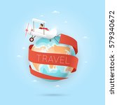 world travel. planning summer... | Shutterstock .eps vector #579340672