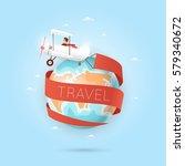 world travel. planning summer... | Shutterstock .eps vector #579340672