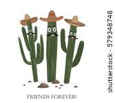 three cute cartoon saguaro...   Shutterstock .eps vector #579348748