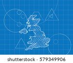 blueprint of united kingdom maps | Shutterstock . vector #579349906