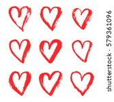 vector ink red hearts symbol on ... | Shutterstock .eps vector #579361096