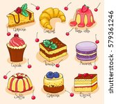 set of doodle hand drawn cakes... | Shutterstock .eps vector #579361246