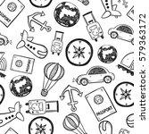 travel doodles seamless... | Shutterstock .eps vector #579363172