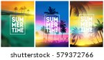 Stock vector summer tropical backgrounds set with palms sky and sunset summer placard poster flyer invitation 579372766