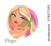 beautiful woman as virgo zodiac ... | Shutterstock .eps vector #579377392