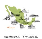 landmarks of mexico located on... | Shutterstock .eps vector #579382156