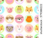 cute animals in a circle face... | Shutterstock .eps vector #579388222