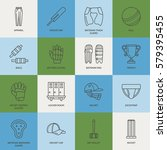 vector line icons of cricket... | Shutterstock .eps vector #579395455
