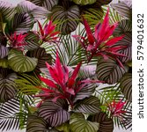 tropical leaves and flowers of... | Shutterstock .eps vector #579401632