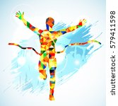 silhouette winner man and fans... | Shutterstock . vector #579411598
