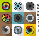 aperture of camera icons set.... | Shutterstock . vector #579419242