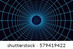 grid tunnel  mesh 3d abstract... | Shutterstock .eps vector #579419422