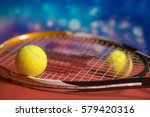 tennis racket and  two balls on ... | Shutterstock . vector #579420316