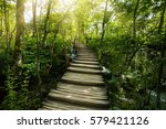 wooden walkway in plitvice lake ... | Shutterstock . vector #579421126