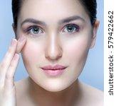 beauty closeup portrait of...   Shutterstock . vector #579422662