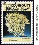 Small photo of CROATIA ZAGREB, 5 FEBRUARY 2017: a stamp printed in the Djibouti shows Acropora, coral, circa 1991