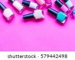 lot of bottles nail polish on... | Shutterstock . vector #579442498