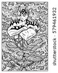 ginn or genie and magic lamp....   Shutterstock .eps vector #579461932