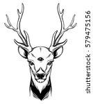 hand sketched deer.... | Shutterstock .eps vector #579475156