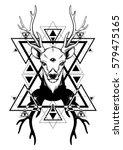 hand sketched deer.... | Shutterstock .eps vector #579475165