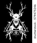 hand sketched deer.... | Shutterstock .eps vector #579475246