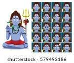 hindu god shiva cartoon emotion ... | Shutterstock .eps vector #579493186
