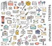 hand drawn doodle postal... | Shutterstock .eps vector #579505996