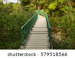 down the aisle a wooden leading ... | Shutterstock . vector #579518566
