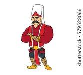 cartoon janissary warrior... | Shutterstock .eps vector #579523066