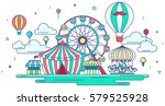 flat line amusement park or... | Shutterstock .eps vector #579525928