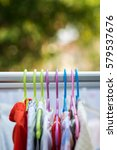 clothing on wire hanger at home ... | Shutterstock . vector #579537676