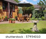 English Back Garden Patio With...