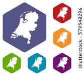 holland map icons set rhombus...   Shutterstock . vector #579548296