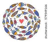 around motif with fish. vector...   Shutterstock .eps vector #579549166