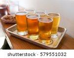craft beer tasting flight of...   Shutterstock . vector #579551032
