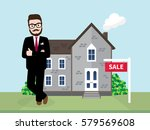 hipster real estate agent... | Shutterstock .eps vector #579569608