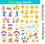 easter design elements with... | Shutterstock .eps vector #579570796