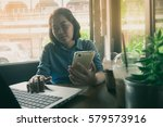 young asian woman working with... | Shutterstock . vector #579573916