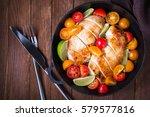 sliced chicken breasts with... | Shutterstock . vector #579577816