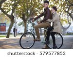 two young chinese college... | Shutterstock . vector #579577852