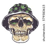 rasta skull in hat with... | Shutterstock .eps vector #579583615
