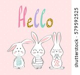 card with cartoon rabbits in... | Shutterstock .eps vector #579592525