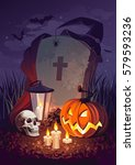 halloween pumpkin and a... | Shutterstock .eps vector #579593236