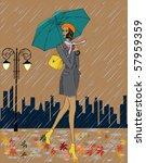 girl in the rain | Shutterstock .eps vector #57959359