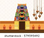hindu temple on pattern... | Shutterstock .eps vector #579595492