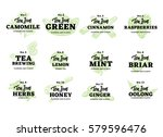 hand drawn tea logos set with... | Shutterstock .eps vector #579596476