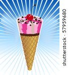 chocolate ice cream on blue... | Shutterstock .eps vector #57959680