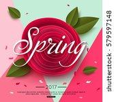 spring rose paper flower | Shutterstock .eps vector #579597148